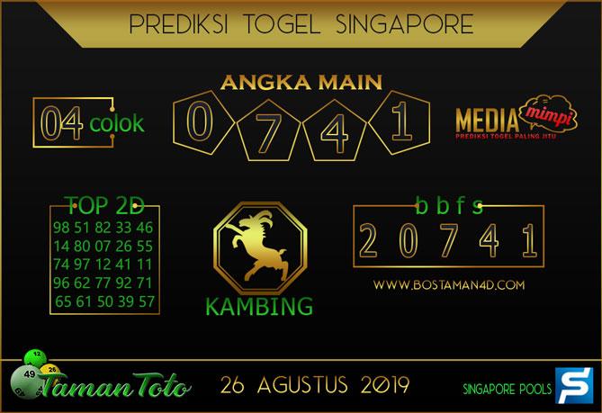 Prediksi Togel SINGAPORE TAMAN TOTO 26 AGUSTUS 2019