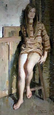 Retrato de Viki, Félix Revello de Toro, Revello de Toro, Pintores Malagueños, Retratos de Revello de Toro, Pintor español, Pintores de Málaga, Pintor Revello de Toro