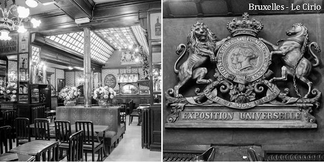 """""""Le Cirio"""" - L'une des plus anciennes tavernes bruxelloises - Classée au patrimoine des Monuments & Sites en 2011 - Salle centrale et salle arrière - Médaillon de l'exposition universelle de 1910 - Bruxelles-Bruxellons"""