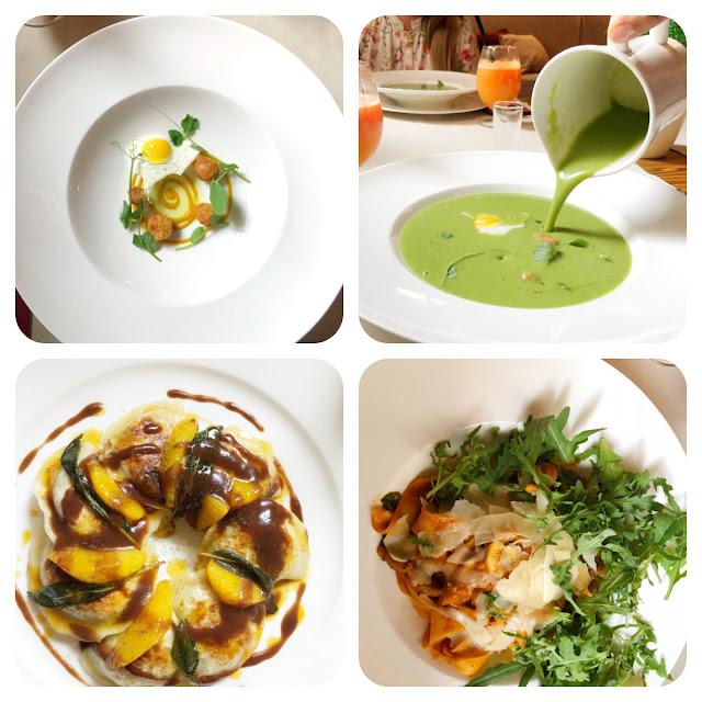 zupa z zielonego groszku, jajko przepiórcze, pierogi z kaczki, parppadelle, restauracja trzy romanse, hotl wieniawski, lublin