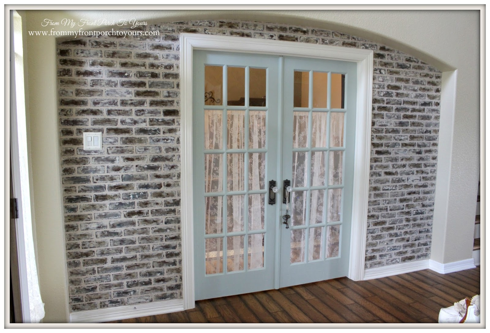 French country home office French Bookcase Diy Brick Wall French Doors Sherwin Willamssea Saltfrench Country Home From My Front Porch To Yours From My Front Porch To Yours French Country Home Office