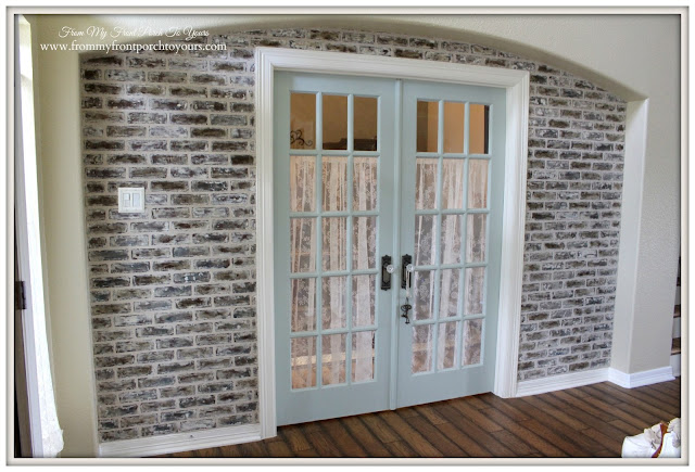 DIY Brick Wall- French Doors- Sherwin Willams-Sea Salt-French Country Home Office- From My Front Porch To Yours