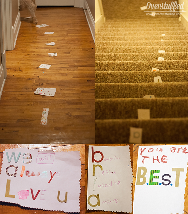 Make a birthday trail of love notes all through the house!