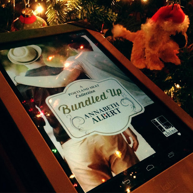 A white Kobo lies close to a Christmas tree adorned with multi-coloured lights and an ornament made of a tiny, yellow Beanie Baby dog wearing a Santa hat. On the Kobo's screen is the cover of Bundled Up, featuring two white men from behind. One has his arm across the other's shoulders.