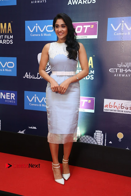 Actress Regina Candra Stills in Beautiful Sleeveless Blue Short Dress at SIIMA Short Film Awards 2017 .COM 0002.JPG
