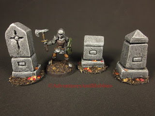 Fantasy adventurer walks among stone grave monuments. Figure is 25-28mm scale.