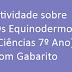 Atividade sobre Os Equinodermos (Ciências 7º Ano) com Gabarito