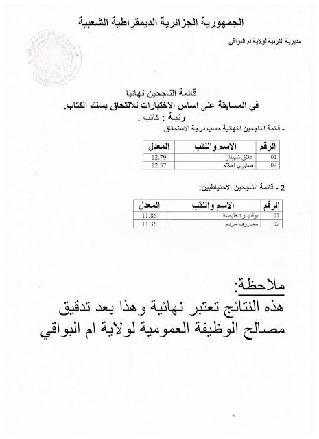 نتائج مسابقة كاتب 2016-2017 مديرية التربية لولاية ام البواقي