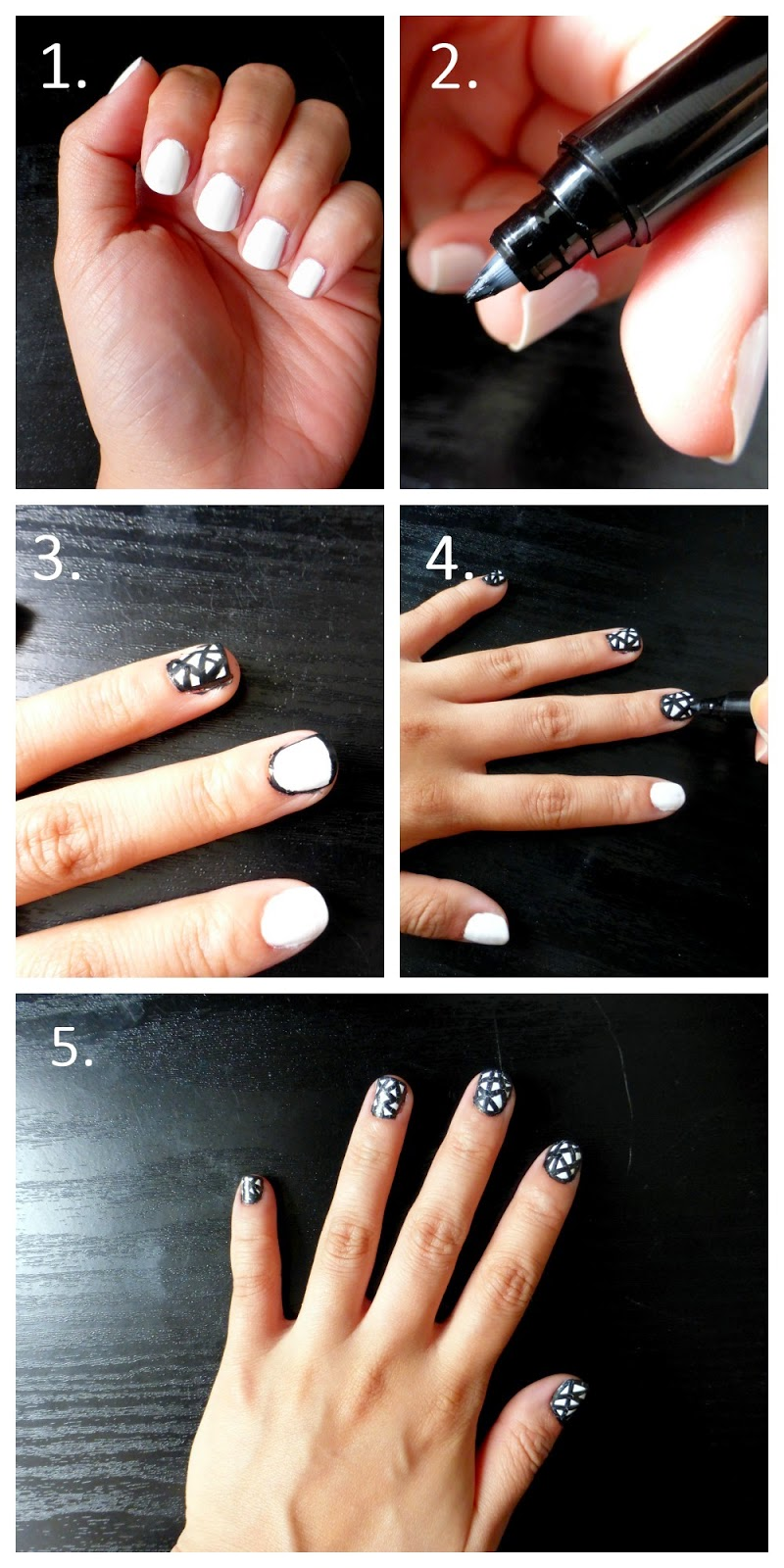Monochrome Nail Art Tutorial
