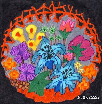 Metal flowers, Colorful Draws - Gambar Penuh Warna
