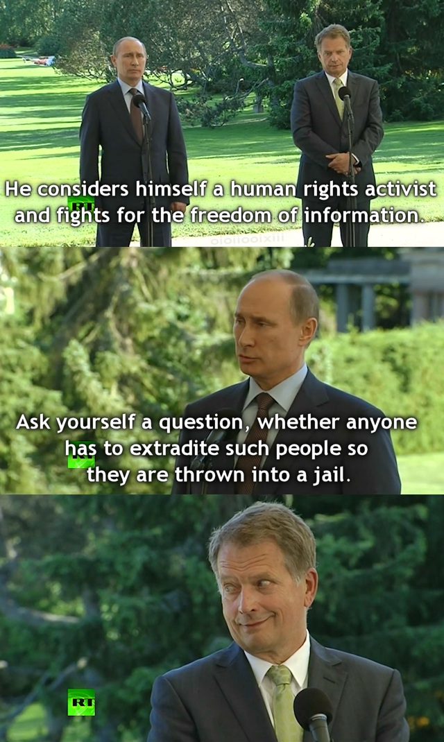 Image contains three frames stacked vertically from 2013 video of Путин (Putin) giving press conference with Finnish president, Sauli Niinistö. Путин is asked about returning Edward Snowden to USA. He answers: 'He considers himself a human rights activist and fights for freedom of information. Ask yourself a question, whether anyone has to extradite such people so they are thrown into a jail'. The final image shows Sauli Niinistö staring at Путин sardonically.