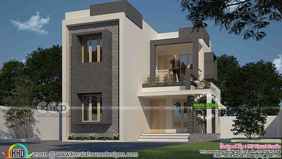 3 bedroom modern flat roof double storied house