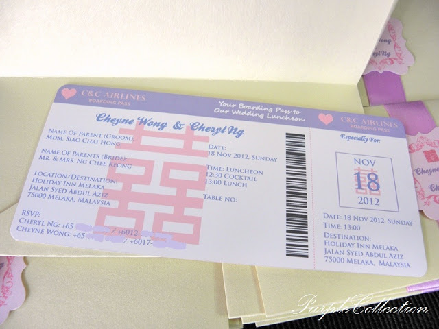 Purple & White Boarding Pass Wedding Card, Purple, White, Boarding Pass Wedding Card, Boarding Pass, Wedding Card, Card, Invitation, Cheryl Ng, Cheyne Wong, Double Hapiness