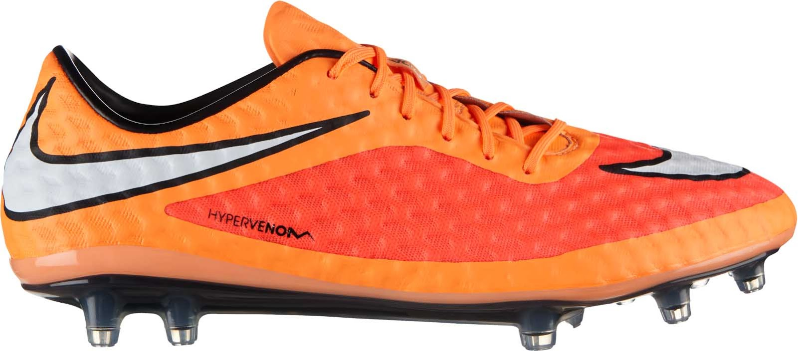 52ab08418a55 The new Nike Hypervenom 2014-2015 Boot Colorway is mainly Hyper Crimson    Atomic Orange combined with a white Nike Swoosh and black applications.