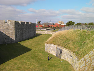 standing in the moat of henry 8ths castle, southsea seafront