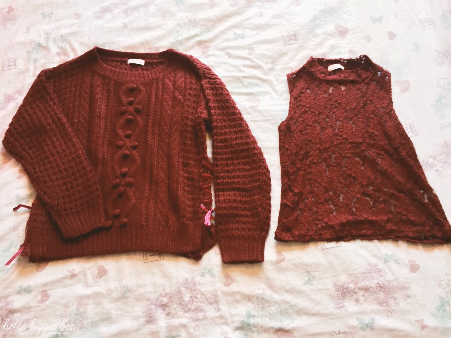 liz lisa, red knit, winter