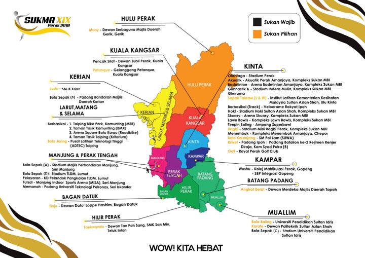 Lokasi dan Tarikh Pertandingan SUKMA 2018 di Negeri Perak