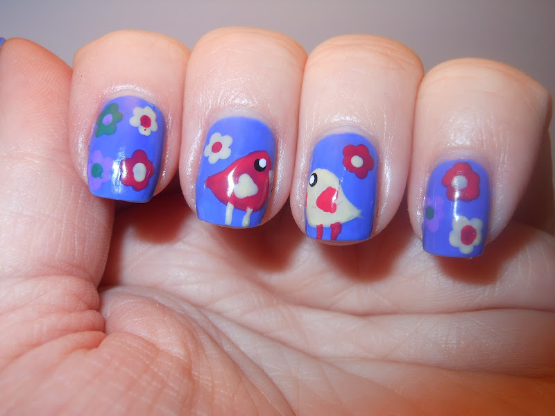 Spring Birds and flowers nail art title=