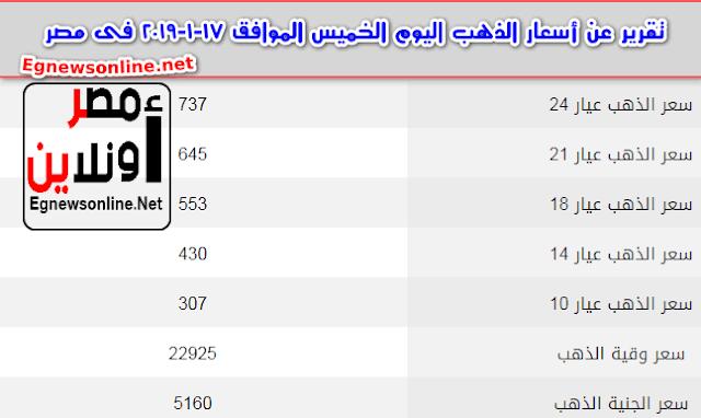 تقرير عن أسعار الذهب اليوم الخميس الموافق 17-1-2019 فى مصر