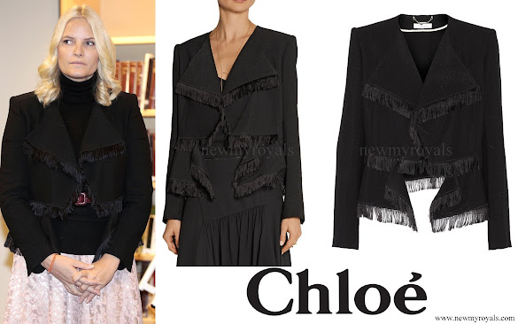 Crown Princess Mette Marit wore Chloe Fringed Jacquard Jacket