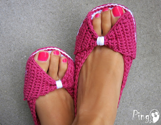 Princess Slippers Crochet Pattern by Pingo - The Pink Penguin