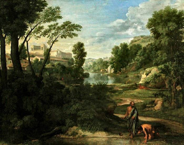 Diogenes in a Landscape, by Nicolas Poussin (17th century).