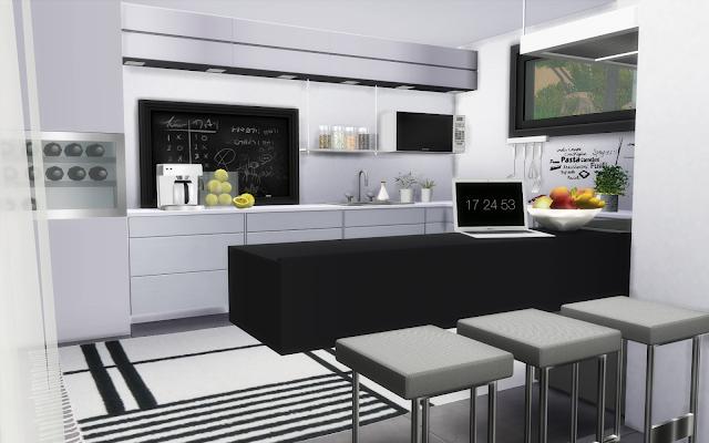 villa sims 4 cuisine moderne blanche