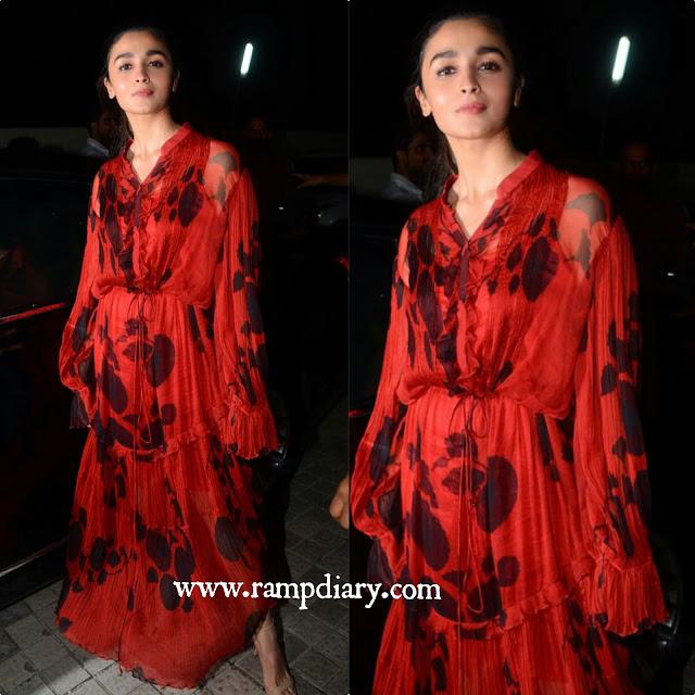 Alia Bhatt In Saaksha Kinni Maxi Dress at Judwaa 2 Screening