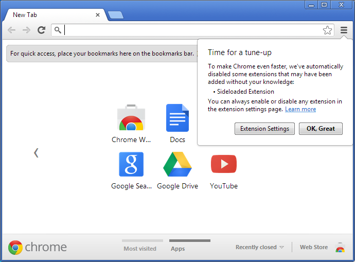 Chromium Blog: No more silent extension installs