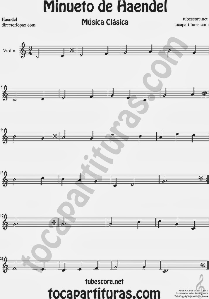 Minueto de Händel  Partitura de Violín by Haendel  Sheet Music for Viola Music Scores