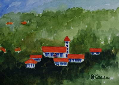 Watercolor - John Keese - Buildings on a Hillside