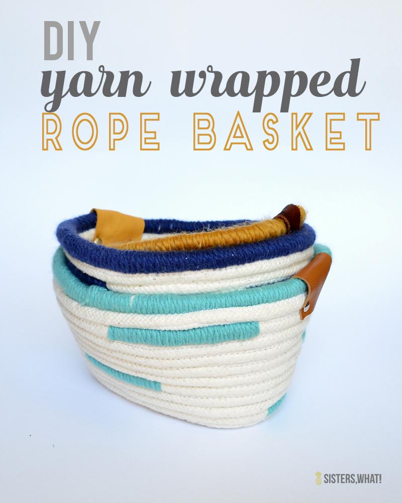 DIY yarn wrapped rope basket