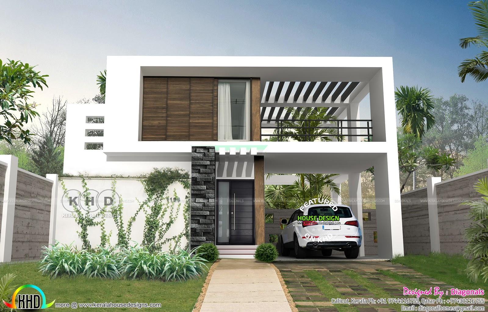 Flat roof contemporary home kerala home design and floor for Flat roof modern house