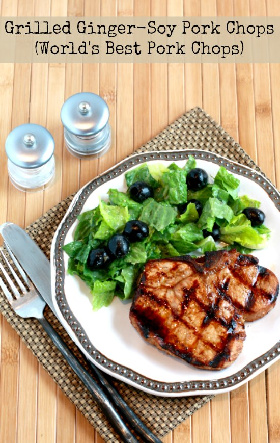 Grilled Ginger-Soy Pork Chops or World's Best Pork Chops found on KalynsKitchen.com