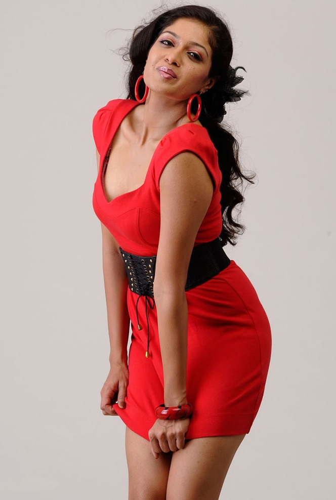 Tamil Actress Meghana Raj Hot Stills In Red Dress