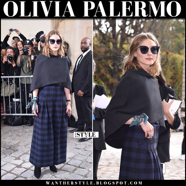 Olivia Palermo in black cape, blue plaid check print pants at Dior show in Paris september 26 2017 front row fashion week