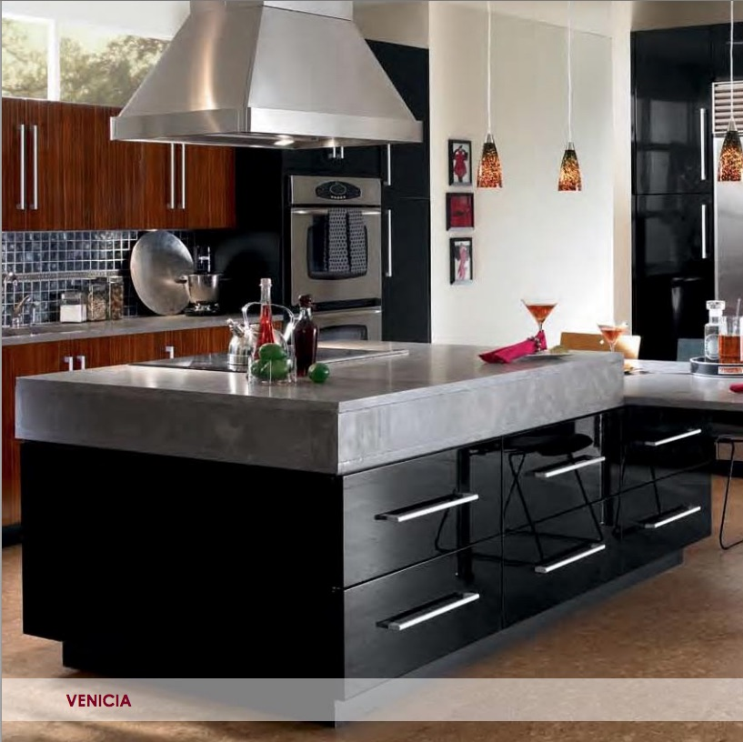 Open frame cabinets in high gloss finish look sleek and for Kitchen cabinets 65th street brooklyn