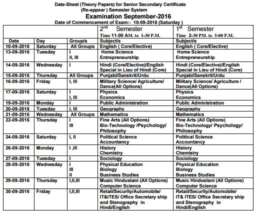 image : HBSE Date Sheet Sept 2016 - 12th Theory Papers 1st & 2nd Semester @ Haryana-Education-News.com