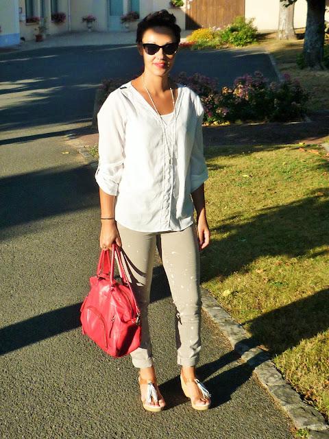 Look Mode Soldes jean beige tâché sud express