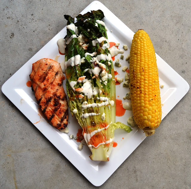 Grilled Romaine Buffalo Chicken Salad