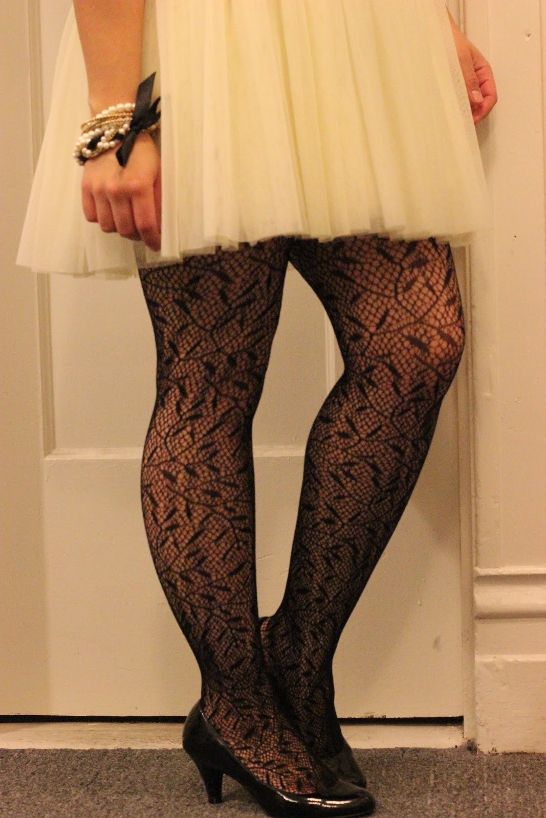 Tulle Skirt and Patterned Tights