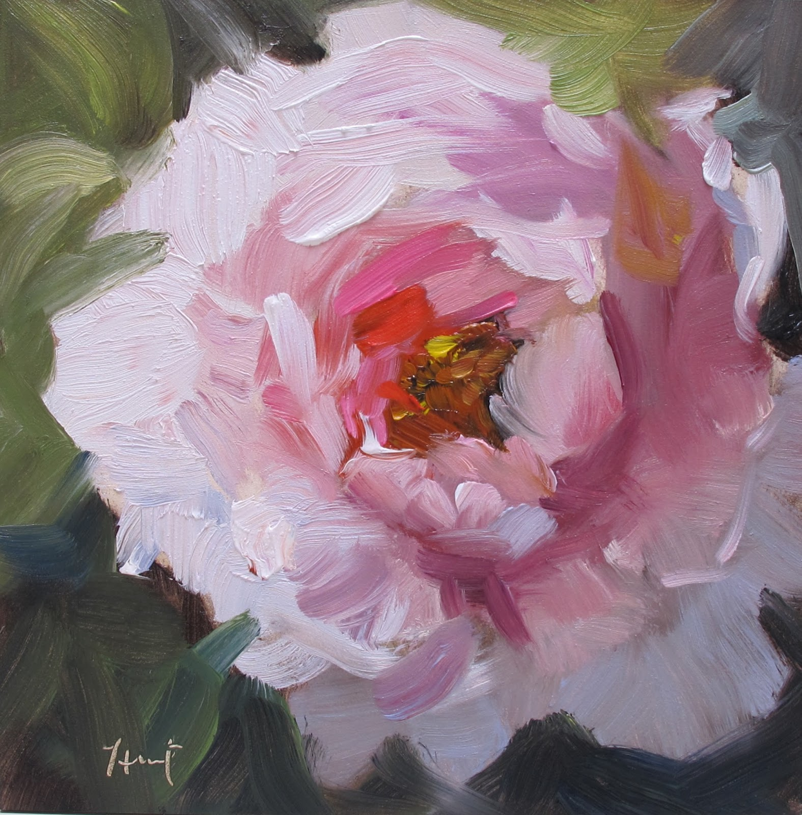 Linda hunt fine art pretty in pink for How to paint flowers with oil paint