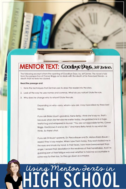 Using mentor sentences and texts in middle and high school English classes. Reading workshop; readers workshop