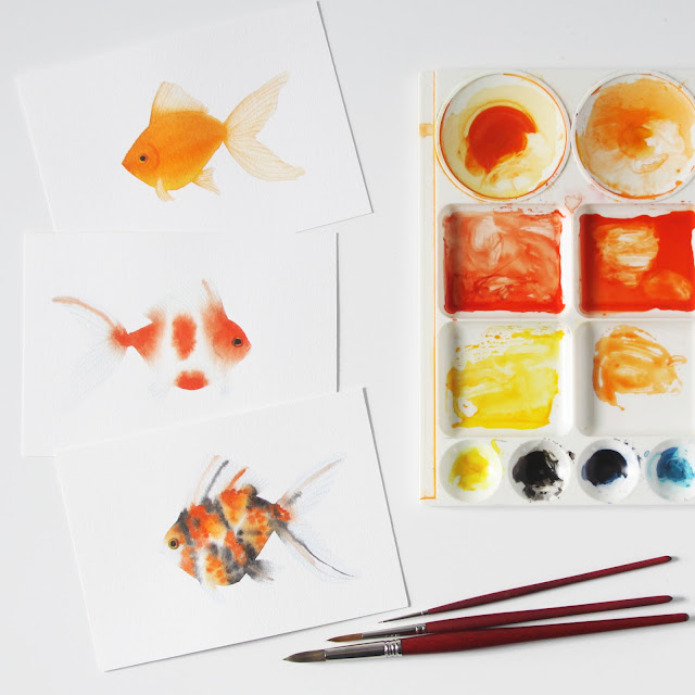 painting, watercolor, goldfish, Skillshare, Anne Butera, My Giant Strawberry