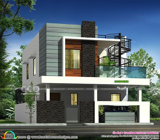2976 square feet modern flat roof 4 BHK home