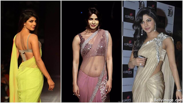 priyanka chopra looks hot in saree