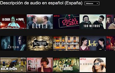 Pagina de Netflix con los videos con audio-transcripción