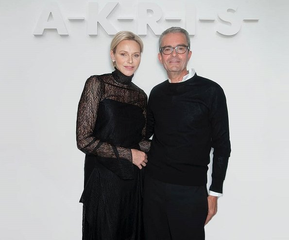 Princess Charlene wore Akris dress from Womenswear Fall Winter 2018-2019 Collection. Albert Kriemler Spring Summer 2019 collection