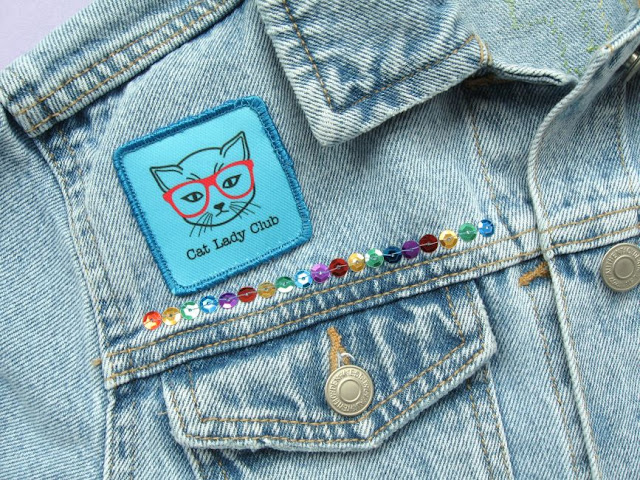 Decorating a denim jacket with custom printed patches