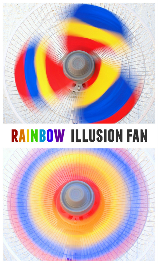 how to paint a fan with 3 colors (red, yellow, and blue) and when it turns on... poof! A rainbow appears!